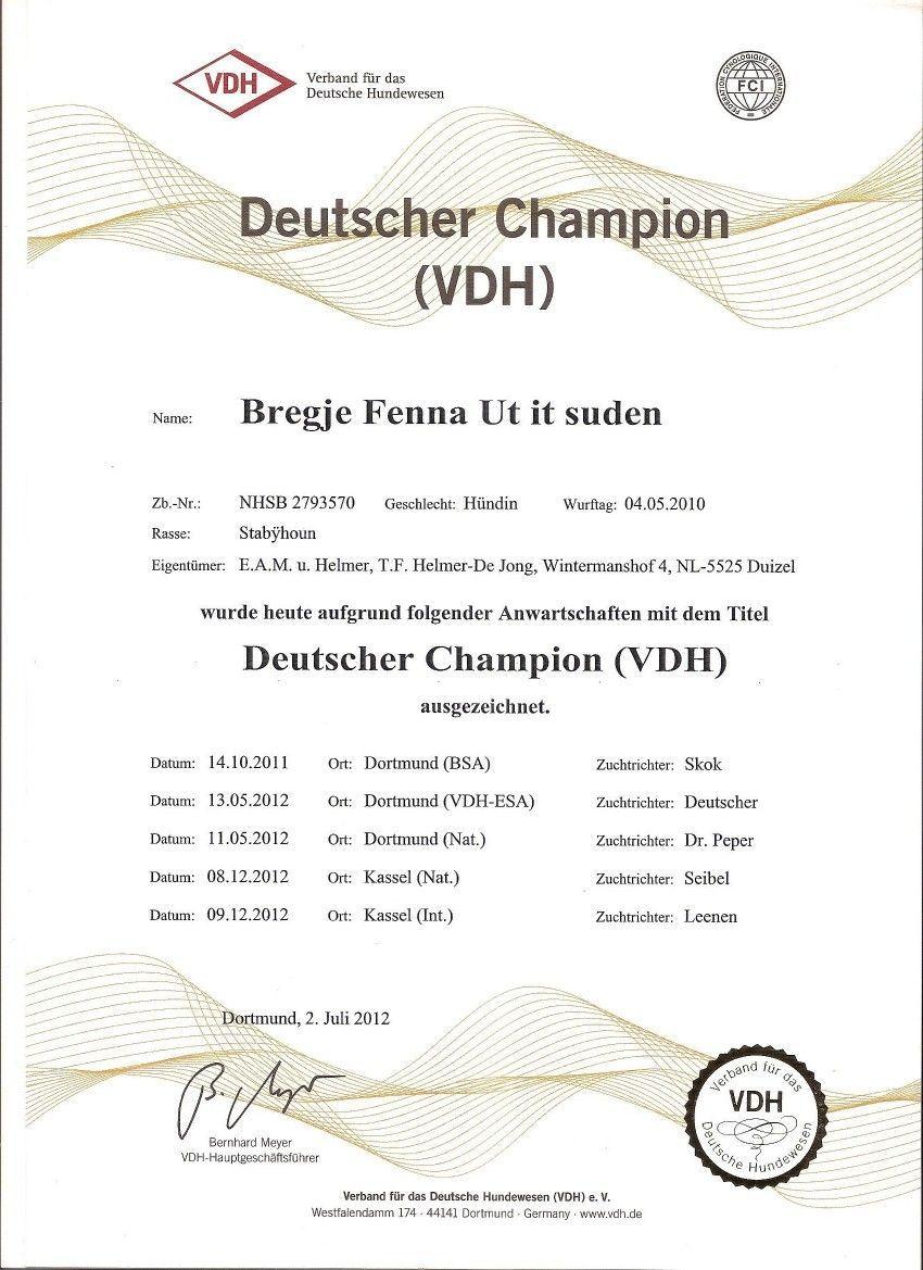 Lobke Duits VDH Kampioene